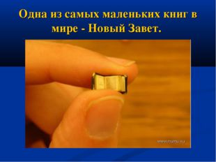 Одна из самых маленьких книг в мире - Новый Завет.