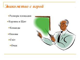 Знакомство с игрой Корзина и Щит Основы Счёт Очки Размеры площадки Команды