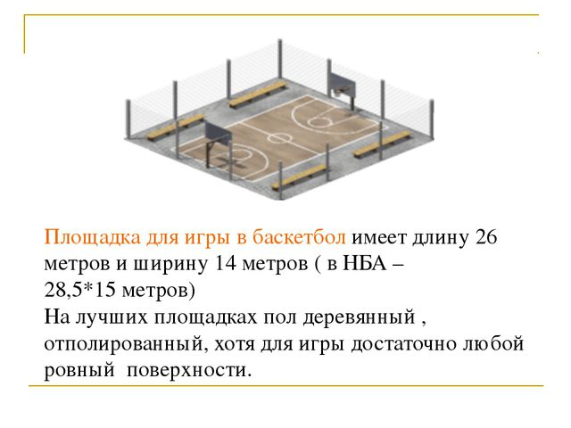 Площадка для игры в баскетбол имеет длину 26 метров и ширину 14 метров ( в НБ...