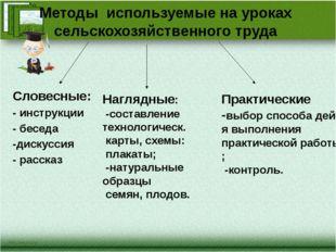 Методы используемые на уроках сельскохозяйственного труда Словесные: - инстру