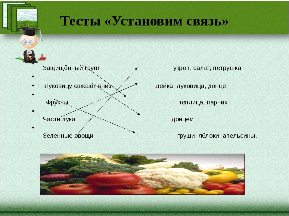 Тесты «Установим связь» Защищённый грунт укроп, салат, петрушка Луковицу сажа...