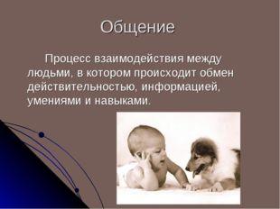 Общение Процесс взаимодействия между людьми, в котором происходит обмен дей