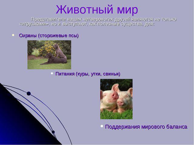 Животный мир Представители наших четвероногих друзей являются не только «иг...