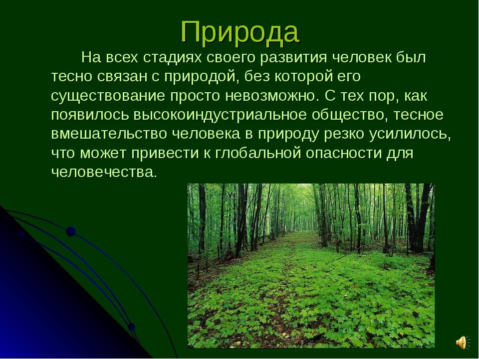 Природа На всех стадиях своего развития человек был тесно связан с природой...