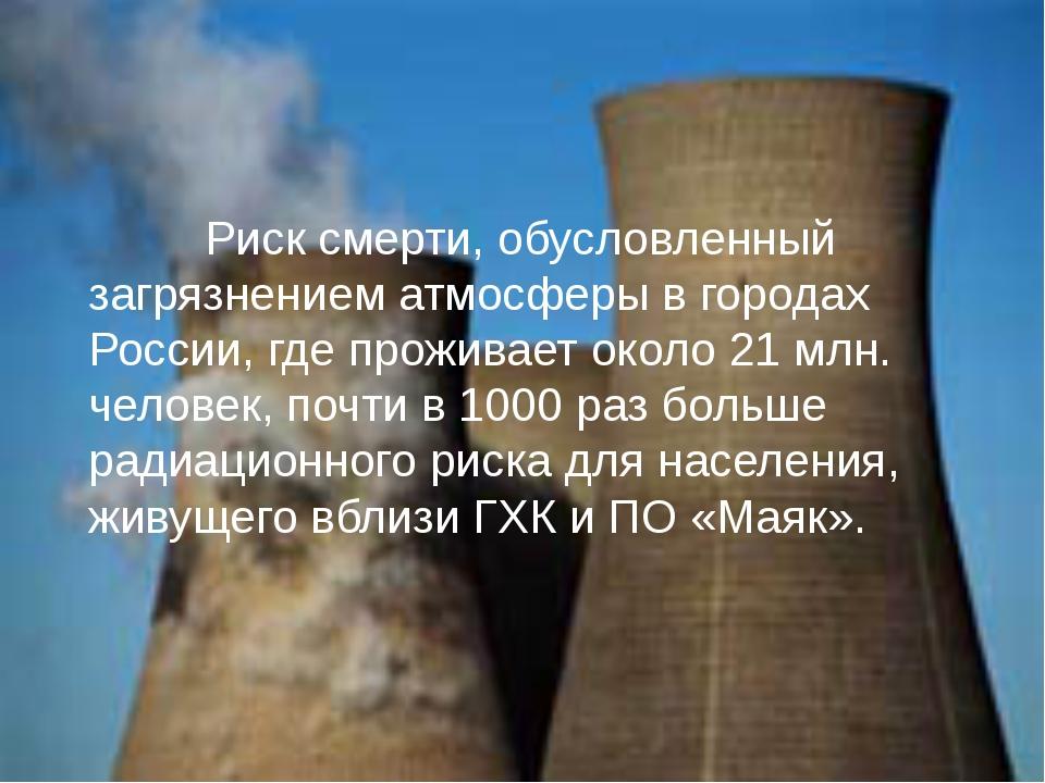 Риск смерти, обусловленный загрязнением атмосферы в городах России, где прож...