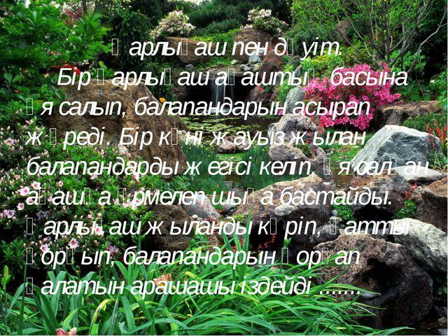Қарлығаш пен дәуіт. Бір қарлығаш ағаштың басына ұя салып, балапандарын асырап...