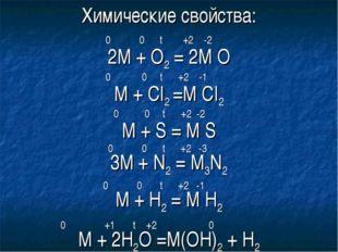 Химические свойства: 2М + О2 = 2М О 0 0 t +2 -2 М + СI2 =M CI2 0 0 t +2 -1 M