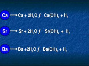 Ca + 2H2O → Ca(OH)2 + H2 Sr + 2H2O → Sr(OH)2 + H2 Ba +2H2O → Ba(OH)2 + H2 Са
