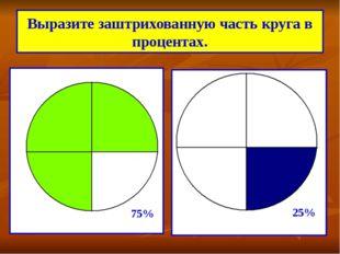 Выразите заштрихованную часть круга в процентах. 75% 25%