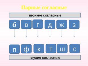 Парные согласные звонкие согласные б г в д ж з п ф к т ш с глухие согласные