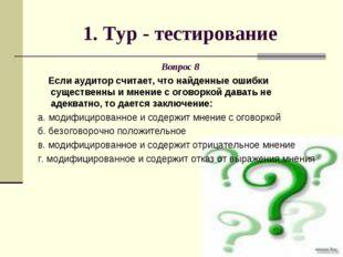 1. Тур - тестирование Вопрос 8 Если аудитор считает, что найденные ошибки сущ