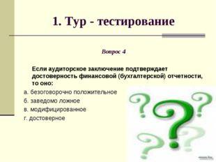 1. Тур - тестирование Вопрос 4 Если аудиторское заключение подтверждает досто