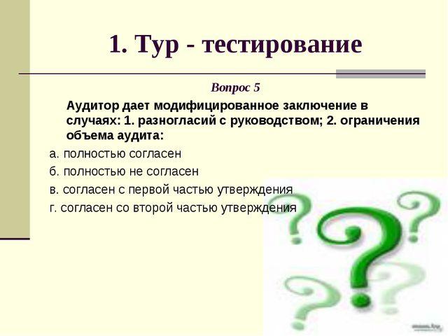 1. Тур - тестирование Вопрос 5 Аудитор дает модифицированное заключение в слу...