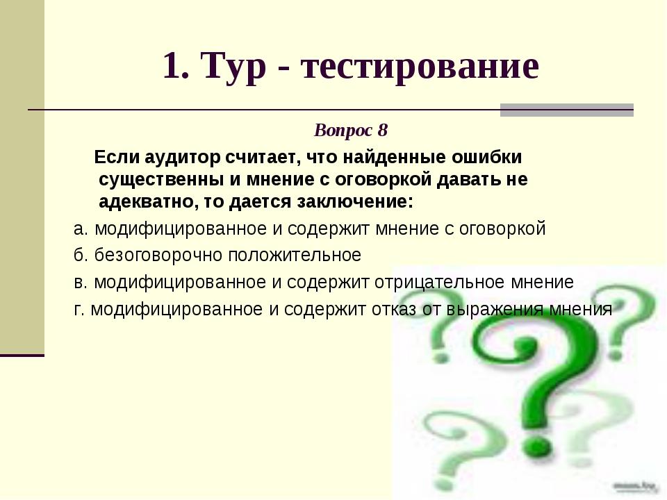 1. Тур - тестирование Вопрос 8 Если аудитор считает, что найденные ошибки сущ...