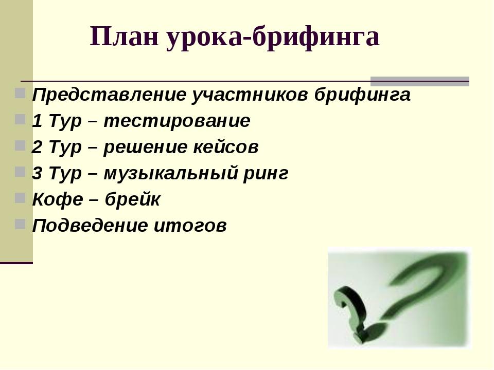 Представление участников брифинга 1 Тур – тестирование 2 Тур – решение кейсов...