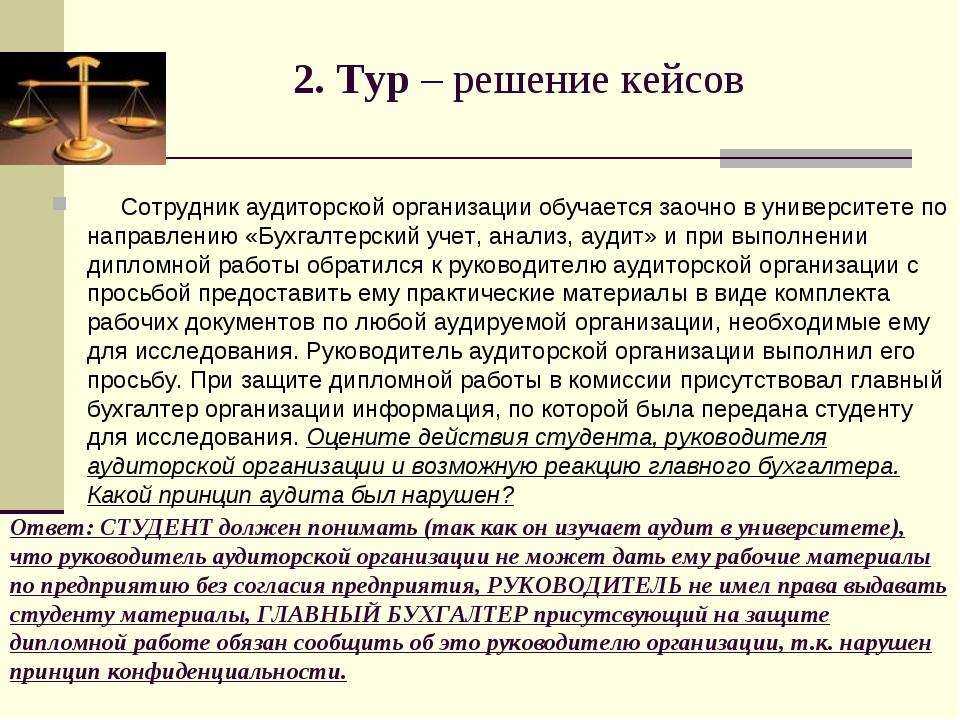 Ответ: СТУДЕНТ должен понимать (так как он изучает аудит в университете), что...