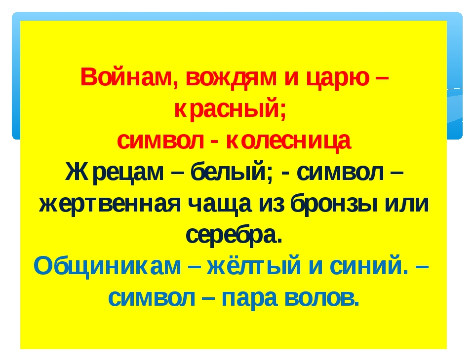 Войнам, вождям и царю – красный; символ - колесница Жрецам – белый; - символ...