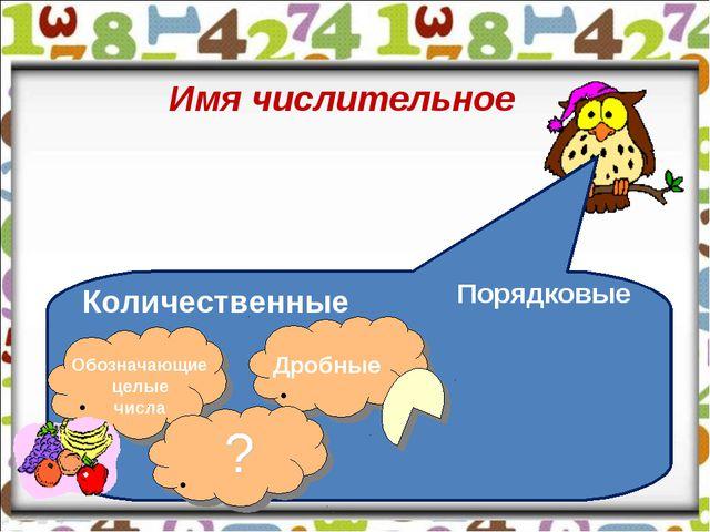 Имя числительное Количественные Порядковые Обозначающие целые числа Дробные