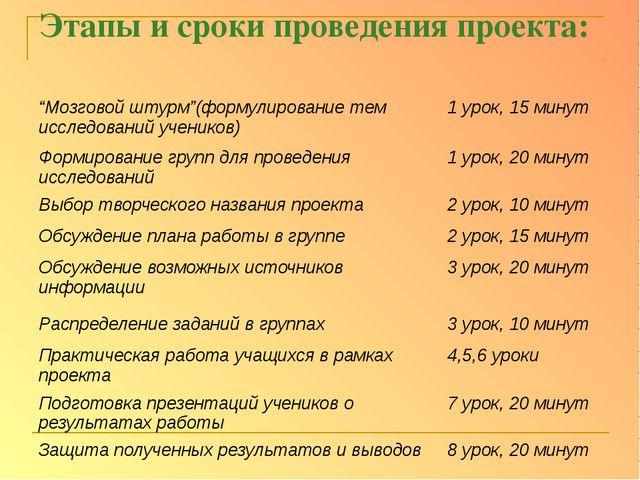 """Этапы и сроки проведения проекта: """"Мозговой штурм""""(формулирование тем исследо..."""