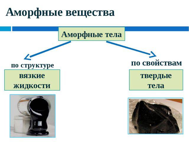 Аморфные вещества Аморфные тела вязкие жидкости твердые тела по структуре по...