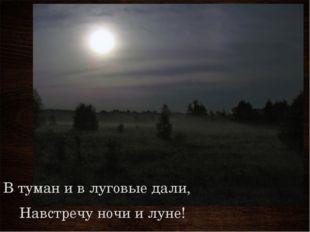 В туман и в луговые дали, Навстречу ночи и луне!
