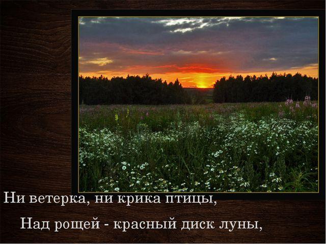Ни ветерка, ни крика птицы, Над рощей - красный диск луны,