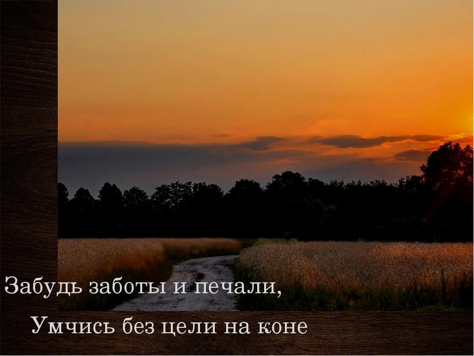 Забудь заботы и печали, Умчись без цели на коне