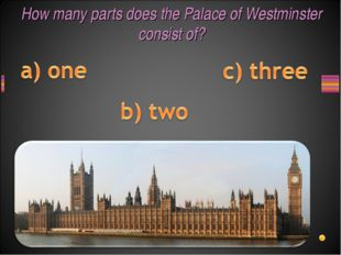 How many parts does the Palace of Westminster consist of?