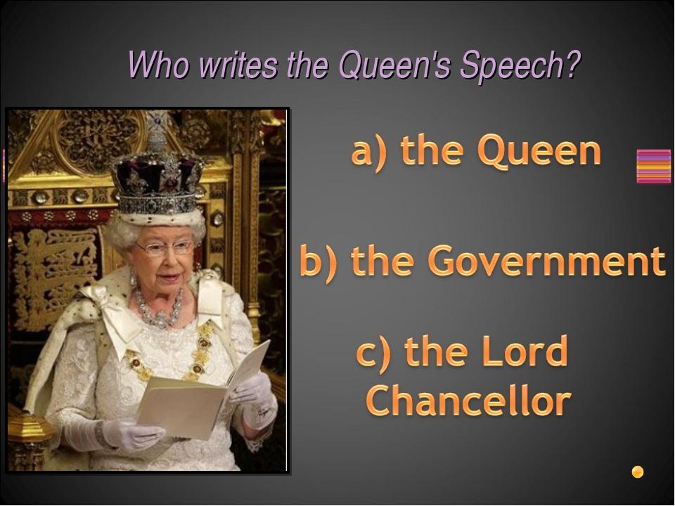 Who writes the Queen's Speech?