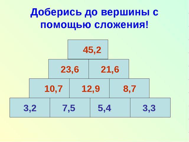 Доберись до вершины с помощью сложения! 3,2 7,5 5,4 3,3 10,7 12,9 8,7 23,6 21...