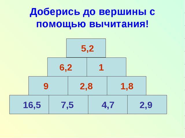 Доберись до вершины с помощью вычитания! 16,5 7,5 4,7 2,9 9 2,8 1,8 6,2 1 5,2