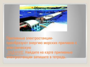 Приливные электростанции- преобразуют энергию морских приливов в электрическу