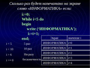 Сколько раз будет напечатано на экране слово «ИНФОРМАТИКА» если: i:=0; While i