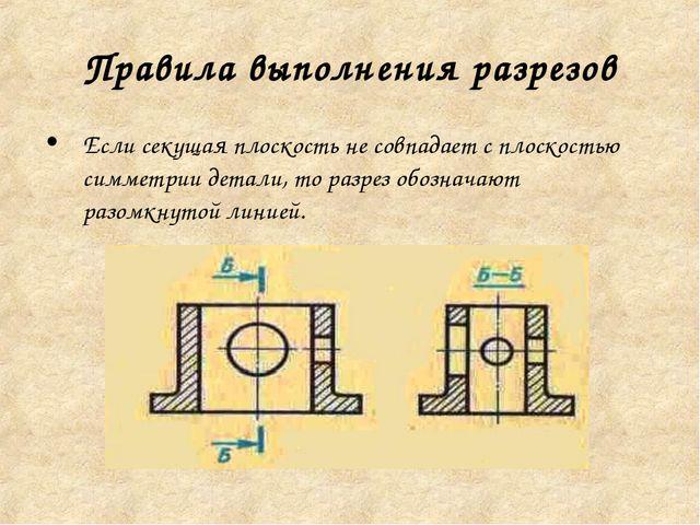Правила выполнения разрезов Если секущая плоскость не совпадает с плоскостью...