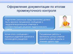 Оформление документации по итогам промежуточного контроля Родителям (законным