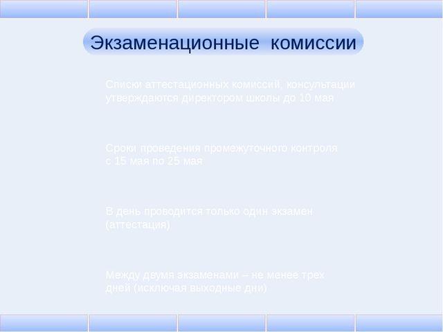 Экзаменационные комиссии Списки аттестационных комиссий, консультации утвержд...