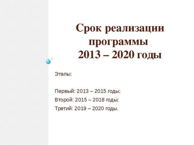 Срок реализации программы 2013 – 2020 годы Этапы: Первый: 2013 – 2015 годы; В...