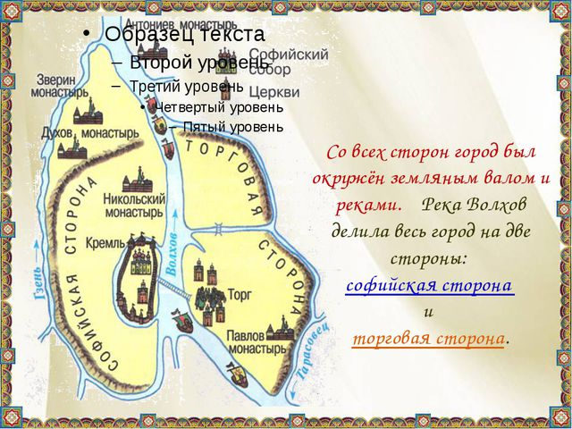 Со всех сторон город был окружён земляным валом и реками. Река Волхов делил...