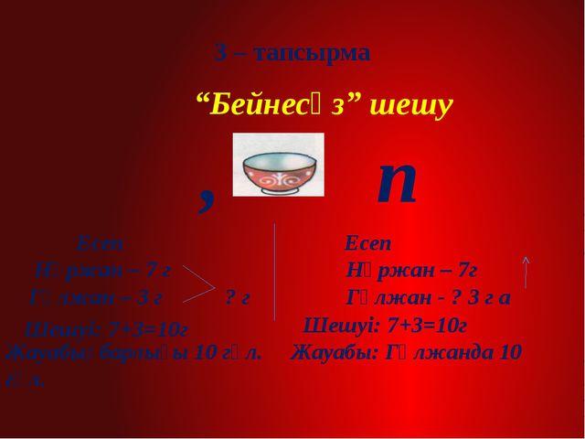 "3 – тапсырма ""Бейнесөз"" шешу , п Шешуі: 7+3=10г Шешуі: 7+3=10г Есеп Есеп Нұр..."