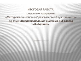 срок реализации до 2019 года Стрельникова Елена Васильевна, классный руководи