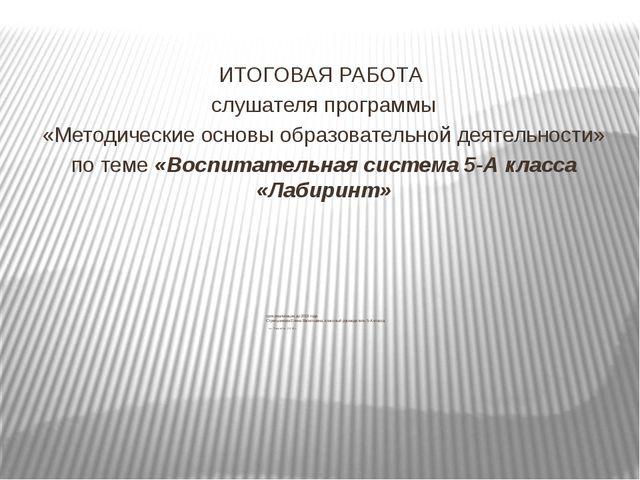 срок реализации до 2019 года Стрельникова Елена Васильевна, классный руководи...