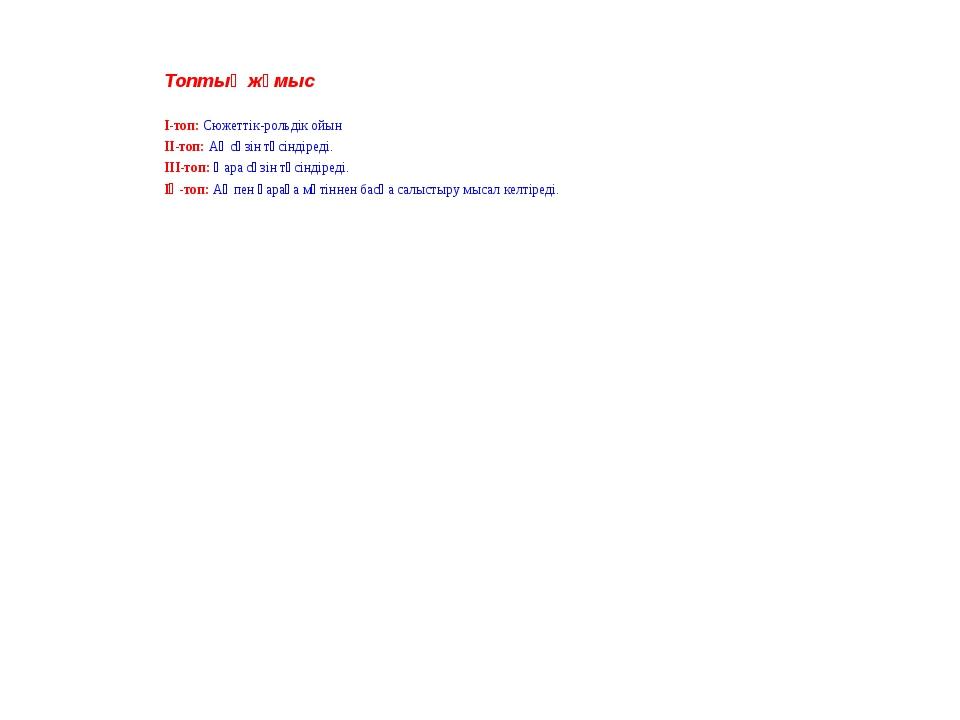 Топтық жұмыс І-топ: Сюжеттік-рольдік ойын ІІ-топ: Ақ сөзін түсіндіреді. ІІІ-т...