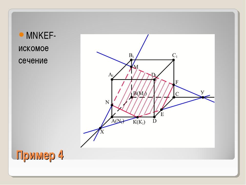 Пример 4 MNKEF- искомое сечение