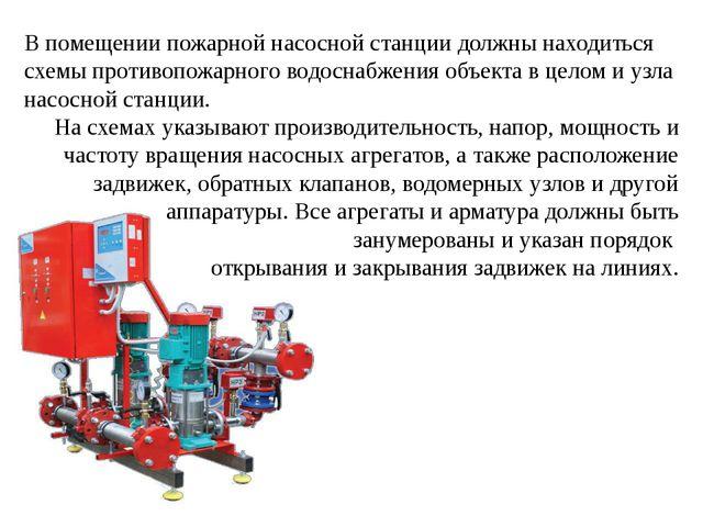 В помещении пожарной насосной станции должны находиться схемы противопожарног...