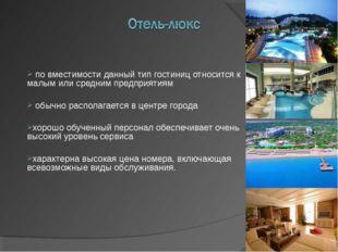 по вместимости данный тип гостиниц относится к малым или средним предприятия