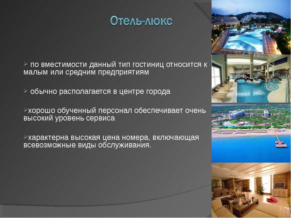 по вместимости данный тип гостиниц относится к малым или средним предприятия...