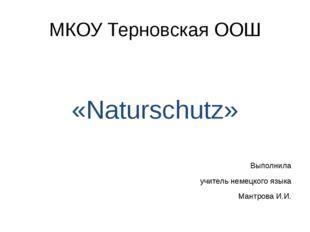 МКОУ Терновская ООШ «Naturschutz» Выполнила учитель немецкого языка Мантрова