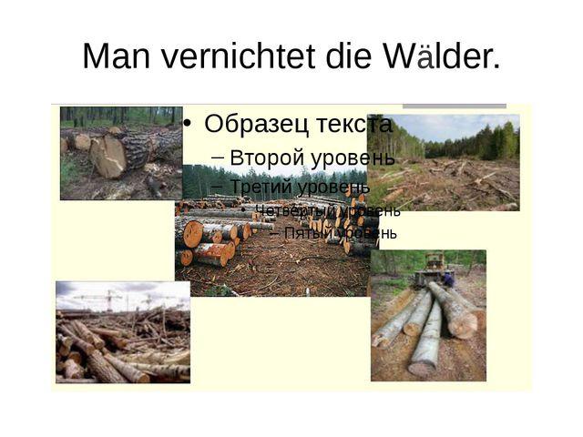 Man vernichtet die Wälder.