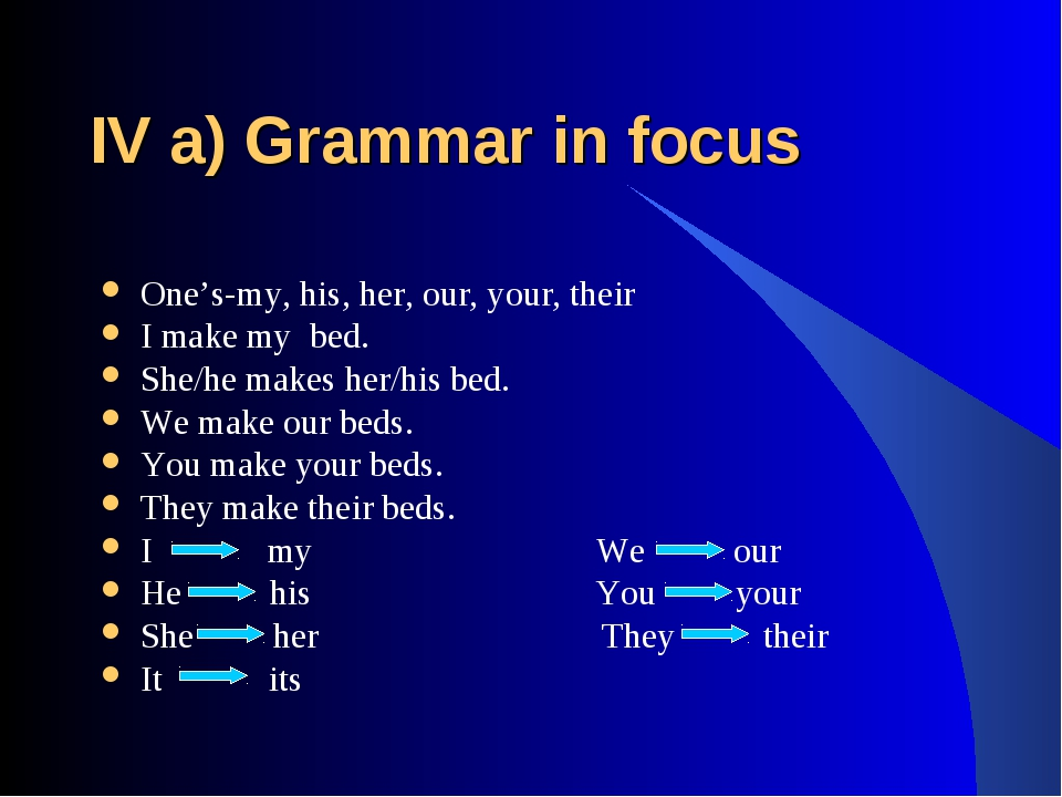 IV a) Grammar in focus One's-my, his, her, our, your, their I make my bed. Sh...