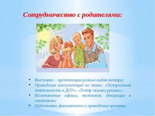 Сотрудничество с родителями: Выставка – презентация разных видов театра; Пров